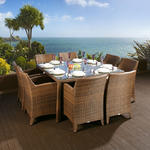 View Item Rattan Garden Dining Set Square Table + 8 Large Carver Chairs Brown