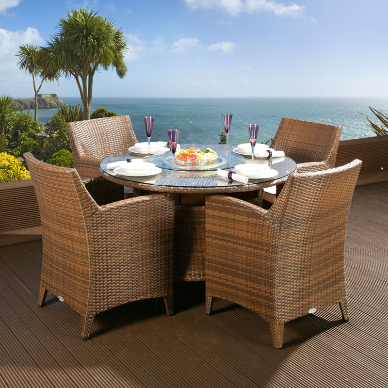 rattan garden dining set round table 4 large carver chairs brown