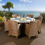 View Item Rattan Garden Dining Set Round Table + 6 Large Carver Chairs Brown