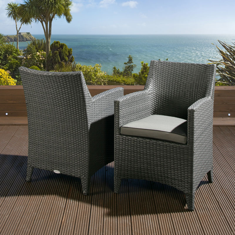 Pair of Luxury Garden Outdoor Dining Chair chairs Black