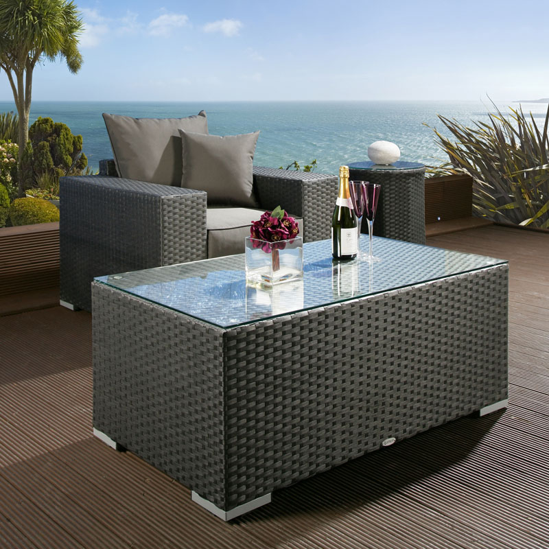 Black Wicker Coffee Table: Luxury Outdoor Garden Rectangular Coffee Table Black