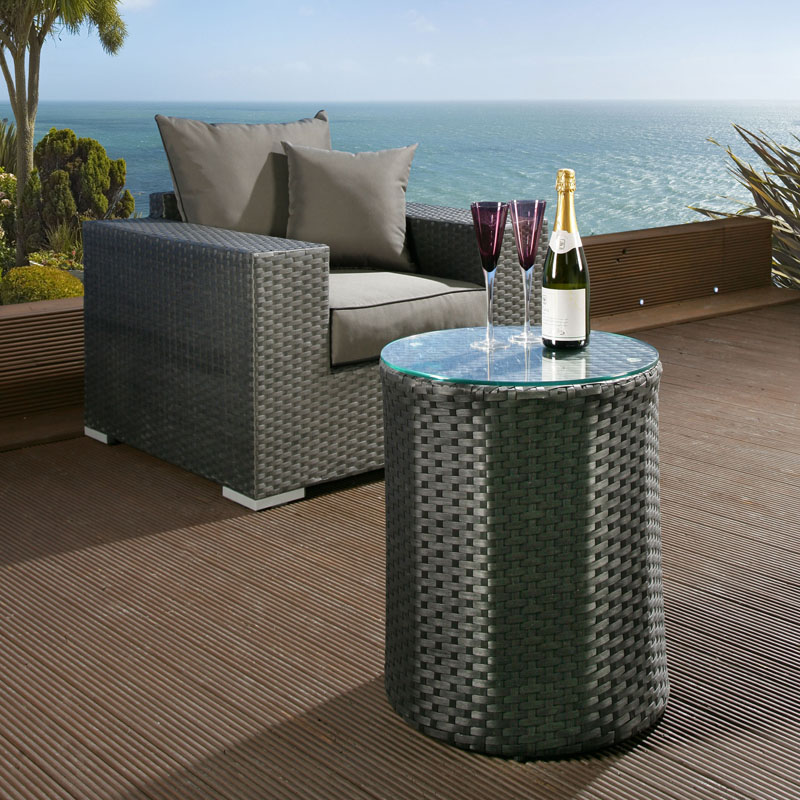Luxury Outdoor Garden Round Side End Coffee Table Black Rattan Glass