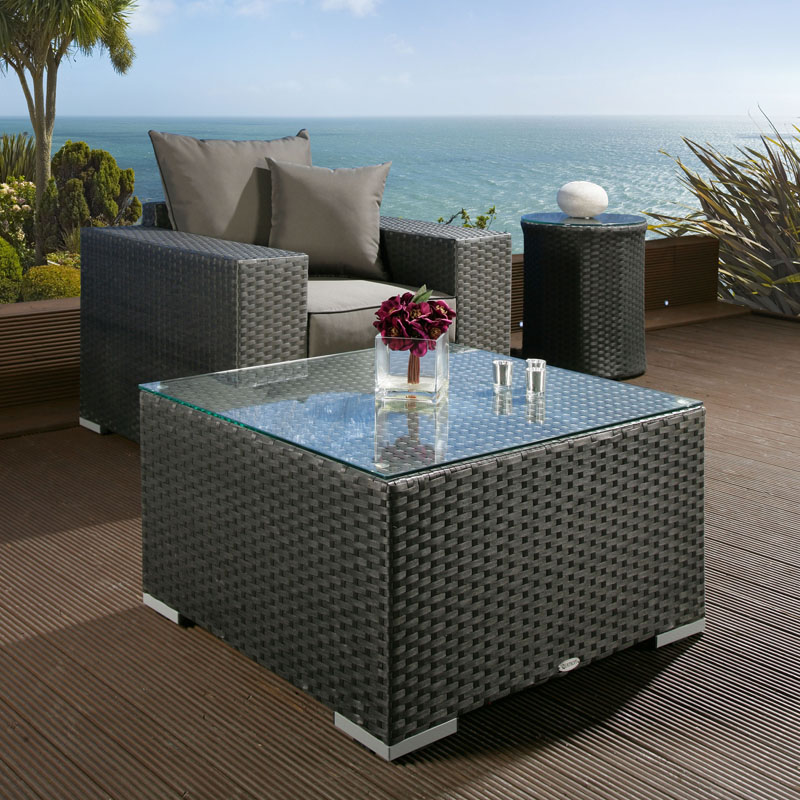Luxury Outdoor Garden Large Square Coffee Table Black Rattan Glass Top