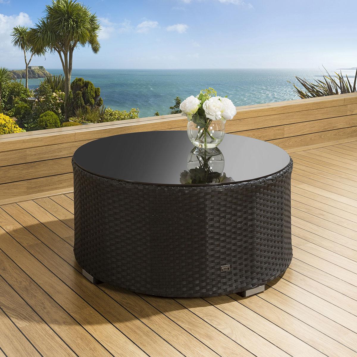 Rattan Round Coffee Table Uk: Luxury Outdoor Garden Round Coffee Table Black Rattan