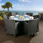 View Item Rattan Garden Dining Set Round Table + 6 Large Carver Chairs Black