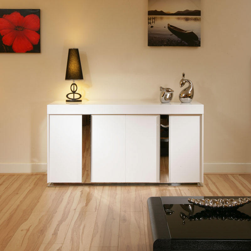 Modern sideboard cabinet buffet in white high gloss 1 for Sideboard 3 meter lang