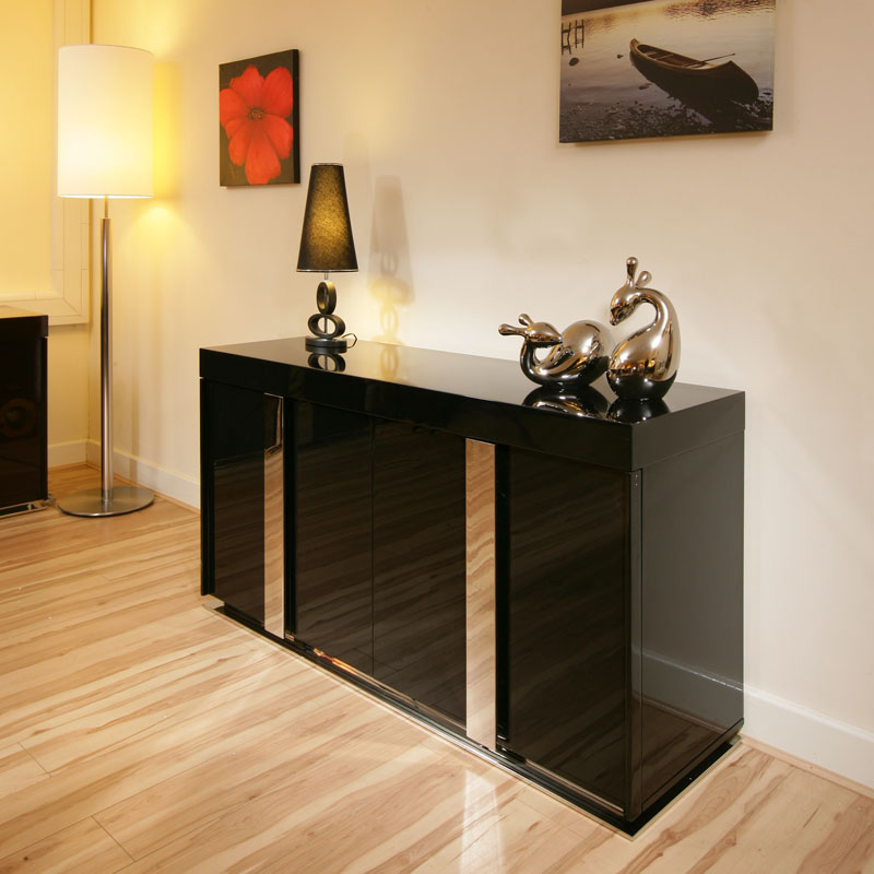 modern black high gloss sideboard cabinet buffet 1. Black Bedroom Furniture Sets. Home Design Ideas