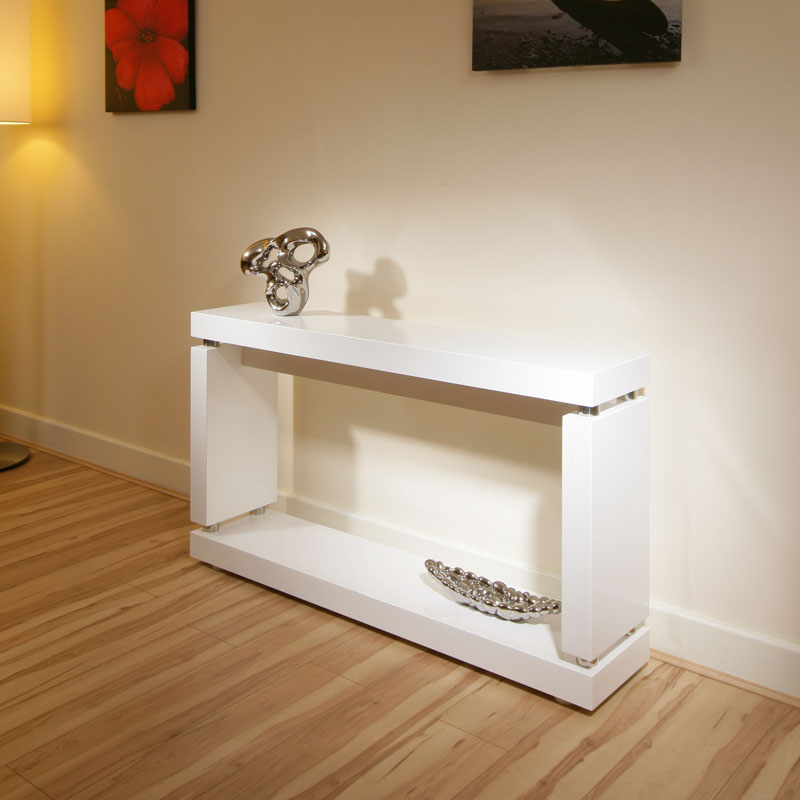 Console hall table in high gloss glossy white lacquer finish 397x ebay - White hall table uk ...