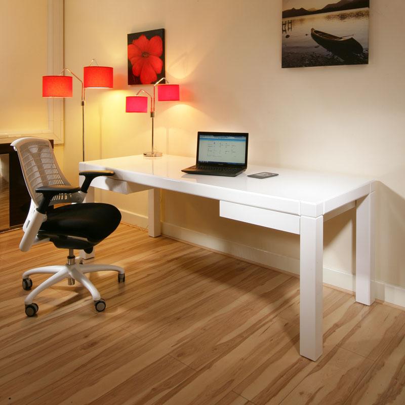 Modern Designer Desk Work Station White Gloss Glossy