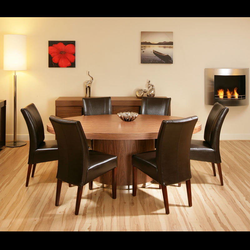 Large Oval Walnut Dining Table with 6 High Back Brown ...