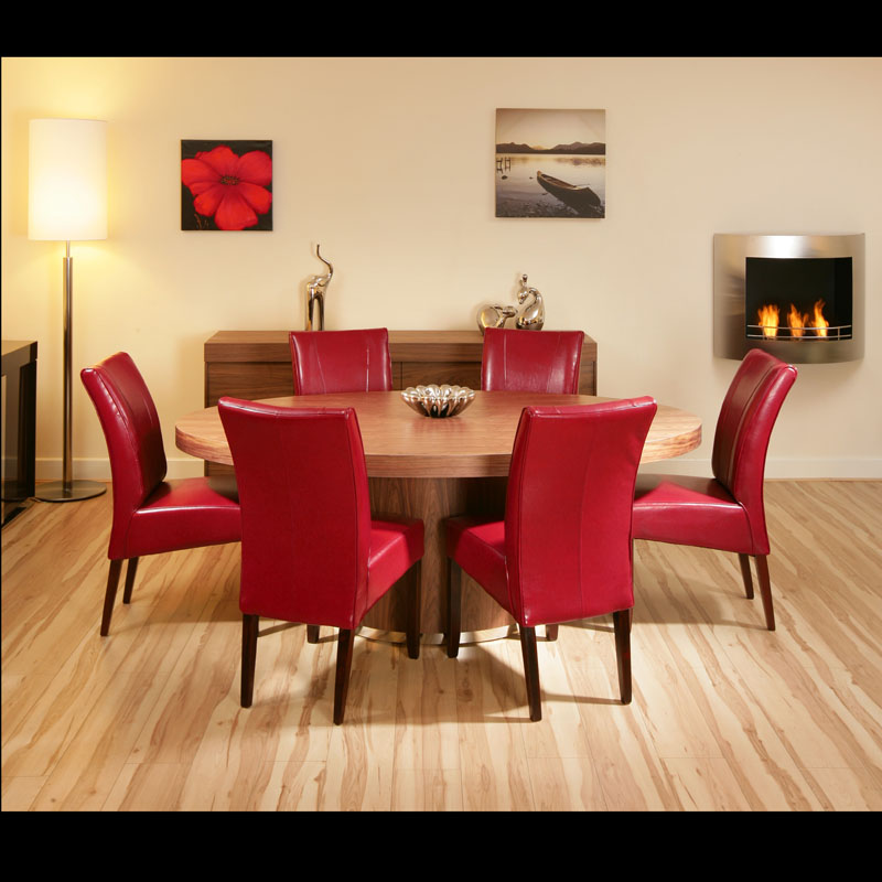 Large Oval Walnut Dining Table With 6 High Back Red Leather Chairs EBay