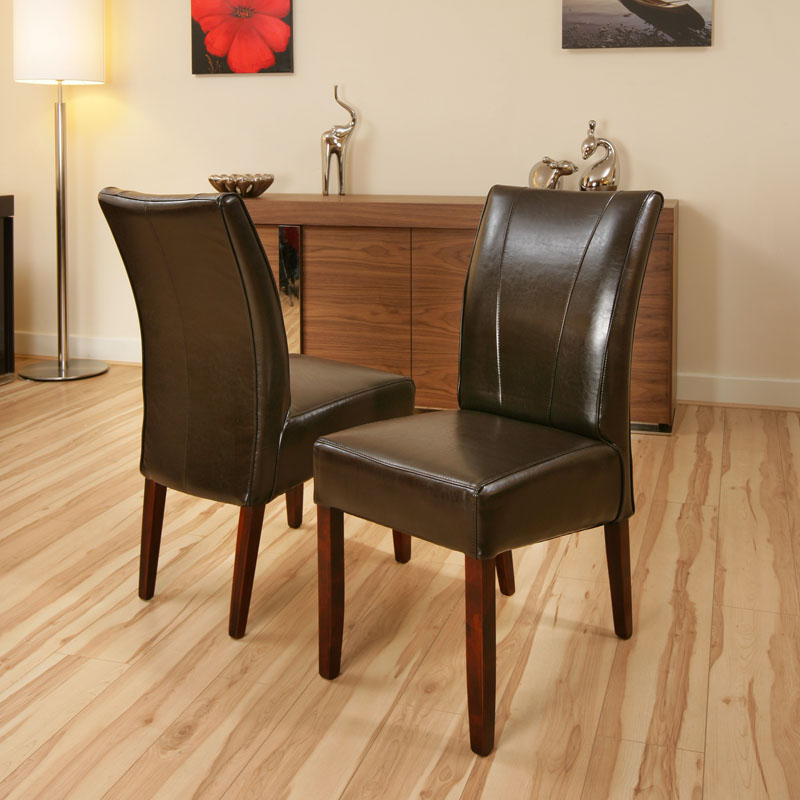 Set of 2 x Dining Chairs / Chair Brown Leather High Back ...