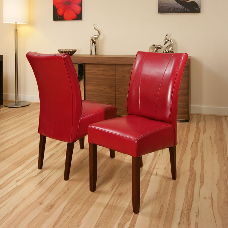 Set of 2 x dining chairs chair red leather high back for Red dining room chairs