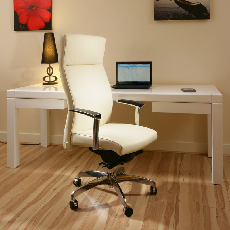luxury leather office chair cream ivory executive
