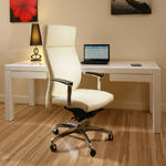 View Item Luxury Leather Office Chair Cream/Ivory Executive Ergonomic Modern Sol