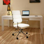View Item Modern Luxury Office Chair Ivory Leather Executive Ergonomic Modern Sav