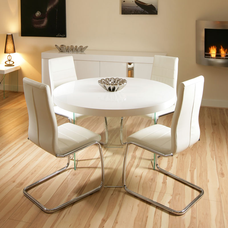 White Dining Room Table And Chairs: Modern Large Round High Gloss White Dining Set Table + 4