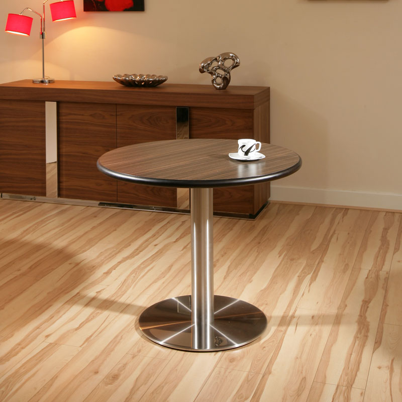 Round EbonyStainless Steel Pedestal Dining TableTables  : PID931900BROWNLR from ebay.co.uk size 800 x 800 jpeg 114kB