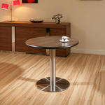 View Item Round Ebony/Stainless Steel Pedestal Dining Table/Tables 90cm diameter