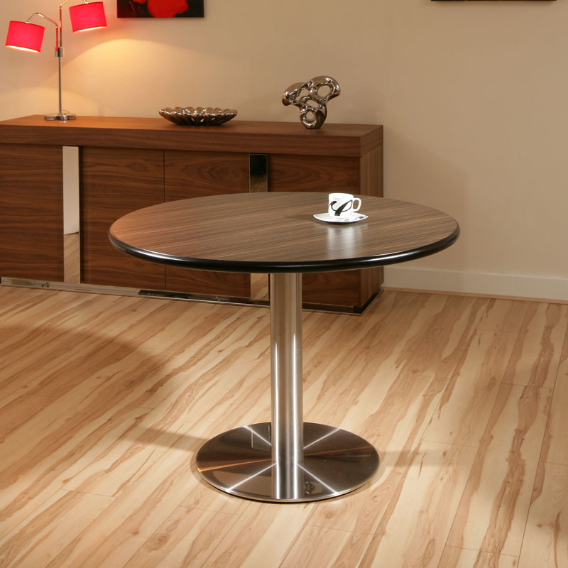 round ebony stainless steel pedestal dining table 110cm ex display ebay. Black Bedroom Furniture Sets. Home Design Ideas