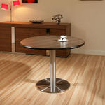 View Item Round Ebony / Stainless Steel Pedestal Dining Table / Tables 110cm dia