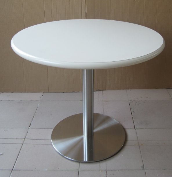 Round WhiteStainless Steel Pedestal Dining TableTables  : PID93120white from www.ebay.co.uk size 593 x 609 jpeg 46kB