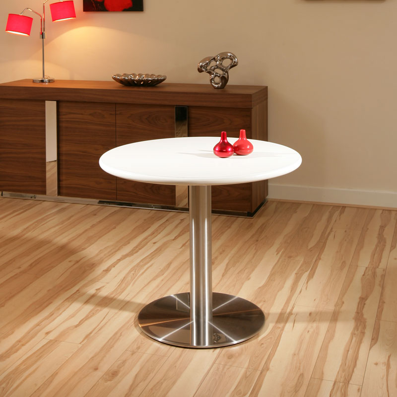 Round White Stainless Steel Pedestal Dining Table Tables 90cm Diameter
