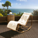 View Item Large Luxury Garden Rocking Chair/Lounger/ Brown Rattan Cream Cushion