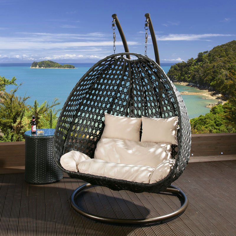 seater garden swing hanging chair black rattan cream cushion frame