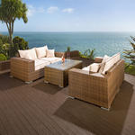 View Item Luxury Outdoor Garden 2 x 2 Seater Sofa Set Brown Rattan/Cream Cushion