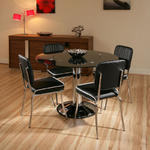 View Item Dining Set Black Glass Round Table lazy susan 4x American Diner Chairs