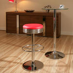 View Item American 50's Diner Style Bar Stools / Stool Red / Chrome High Quality