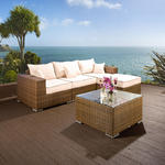 View Item Luxury Outdoor Garden 5PC Sofa Set / Setee Brown Rattan/Cream Cushions
