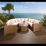 View Item Luxury Outdoor Garden U Shape 8 Seater Sofa Group Brown Rattan/Wicker