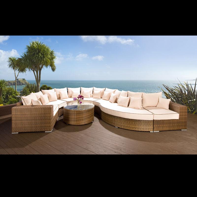 Curved Rattan Garden Sofa: Luxury Outdoor Garden Curved 8 Seater Corner Sofa Group