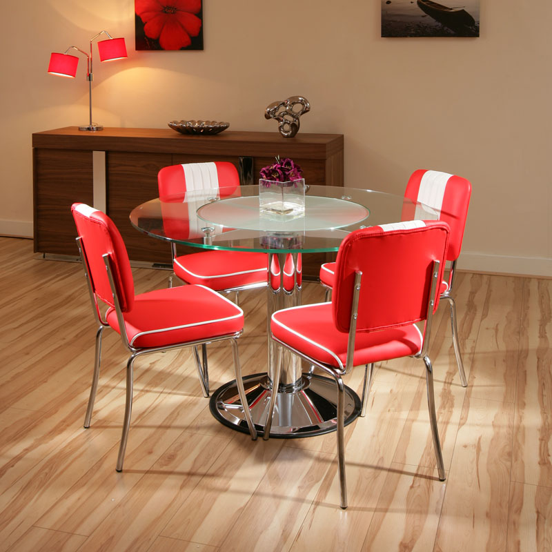 Dining Set Glass Round Table 4 X Red/White American Diner