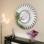 View Item Large Modern Round Designer wall mounted Feature Mirror Leaf Sun Wave
