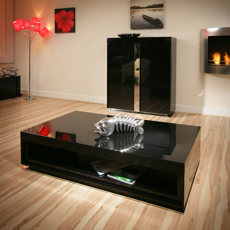 Large Modern Black Coffee Table: Large Modern Designer Rectangular Black Gloss/Glossy