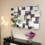 View Item Large Modern Rectangular wall mounted Feature Mirror Purple Squares