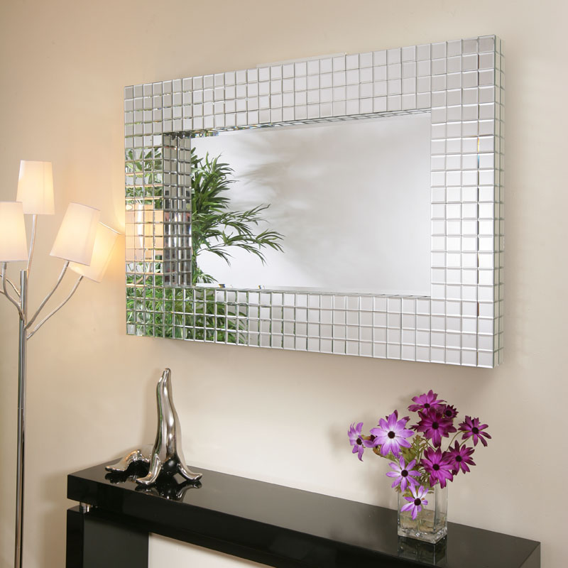Large modern rectangular wall mounted feature mirror tiles for Large contemporary mirrors