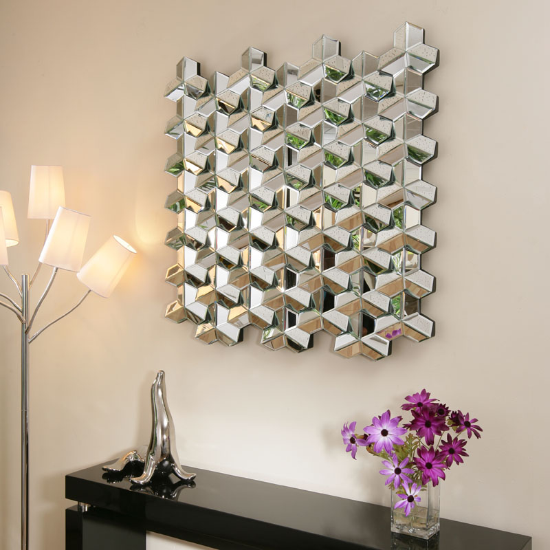 ... Modern Square Designer wall mounted Feature Mirror Crazy Jigsaw : eBay