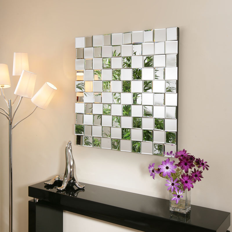 large modern square designer wall mounted feature mirror tiles mh901