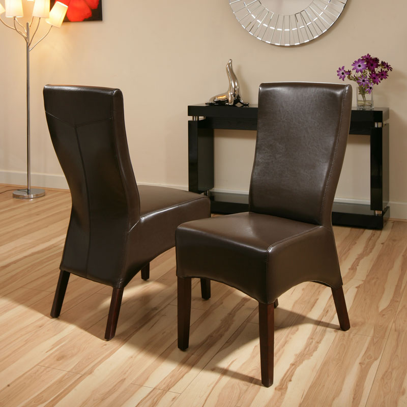 High Quality Dining Furniture: High Quality Dining Chairs Dark Brown Leather High Back