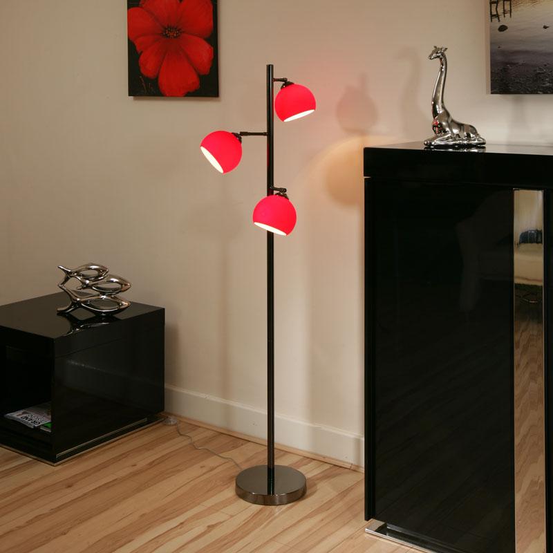 superb quality red glass standard floor lamp light lig hting ball 3. Black Bedroom Furniture Sets. Home Design Ideas