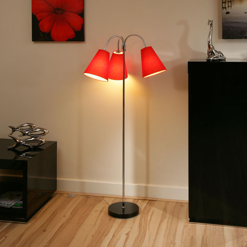 Modern Designer Standard Floor Lamp Lamps Large 3 Red Shades Pasco Ebay