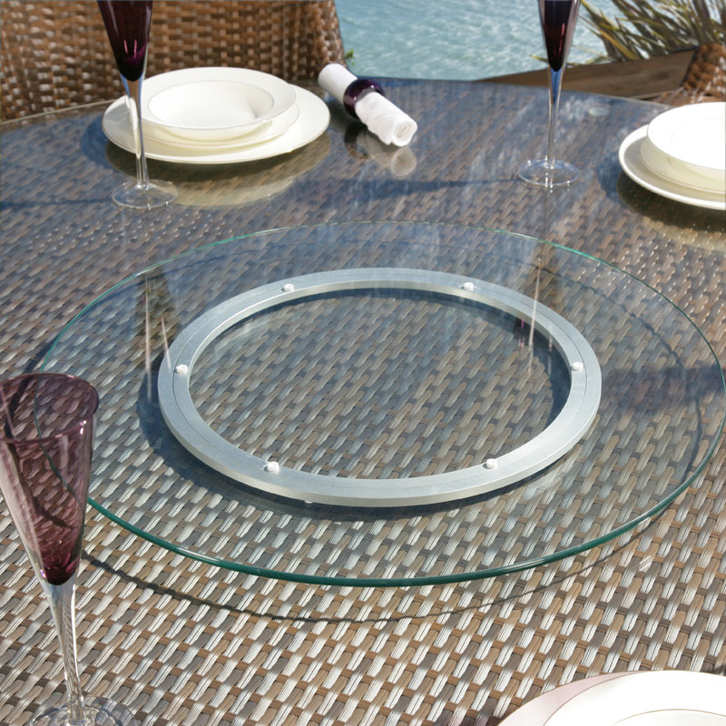 Patio Table Lazy Susan Aluminium Black