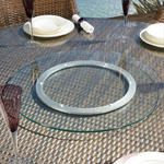 View Item Large Outdoor Garden Clear Glass Lazy Susan for Dining Table 800mm dia