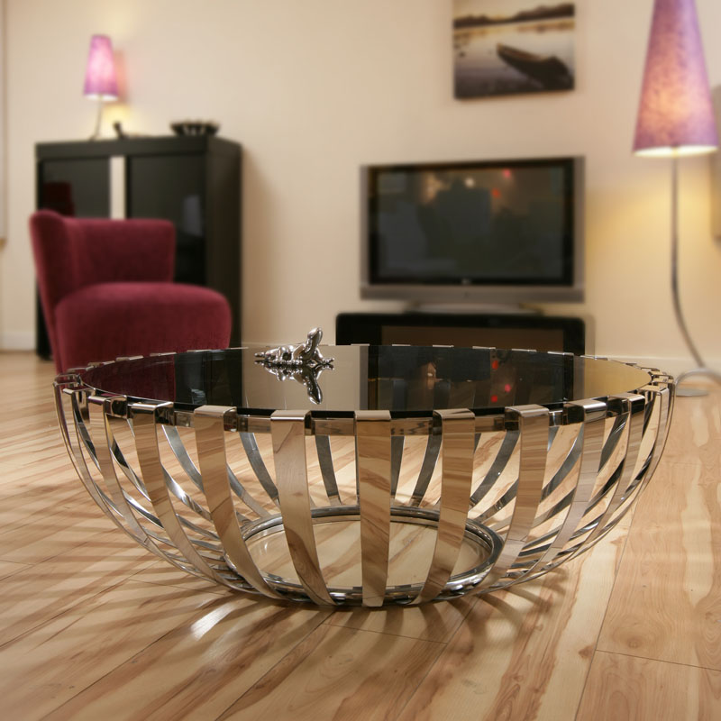 Modern Designer Large Round Coffee Table Glass Top