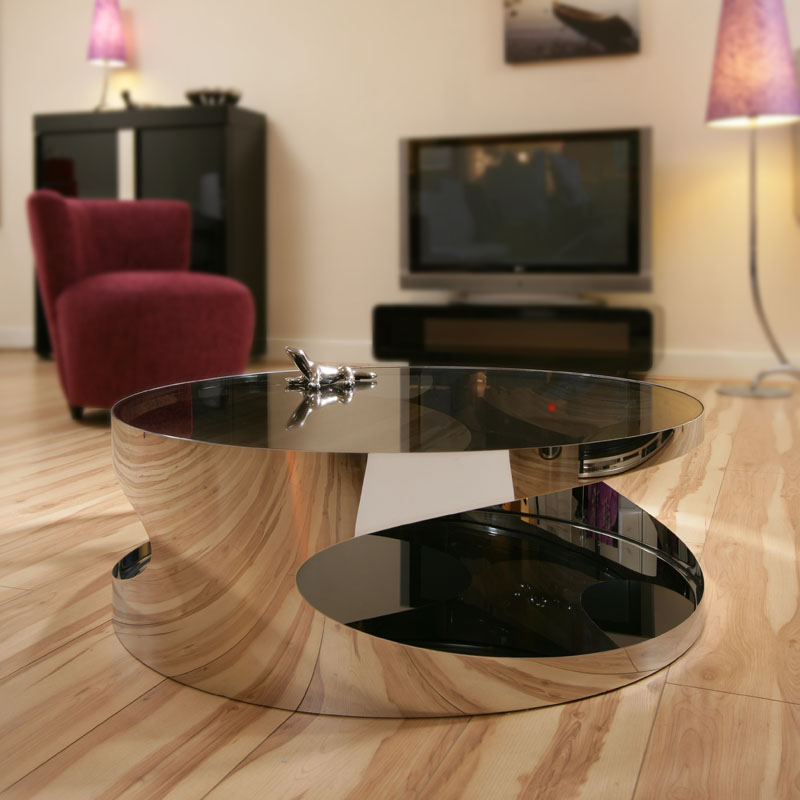 Big Glass Coffee Tables: Modern Designer Large Round Coffee Table Glass Top