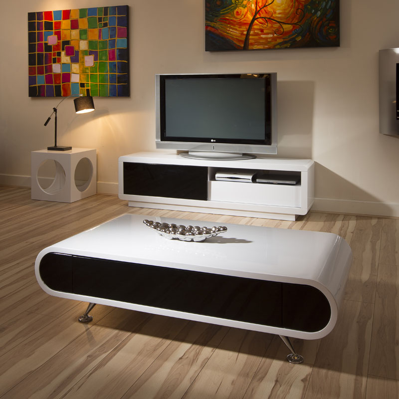 Modern Oval White High Gloss Glossy Lacquer Coffee Table: Modern Rectangular White High Gloss Coffee Table Black